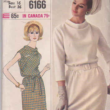 VIntage 1960s Designer Fashion dress pattern with blouson, draped front bodice misses size 16 bust 36 Simplicity 6166 CUT and COMPLETE