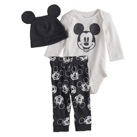 Disney's Mickey Mouse Baby Graphic Bodysuit, Print Pants & Hat Set by Jumping Beans®