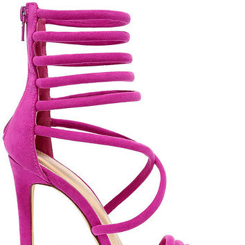 Seoul Sister Purple Suede Caged Heels