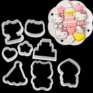 8 Pcs/set Hello Kitty Shape Plastic Cake Cookie Buscuit Cutters Fondant Cake Decorating Mold Tools