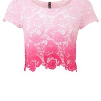 New Look Mobile | Pink Tie Dye Crochet Crop Top