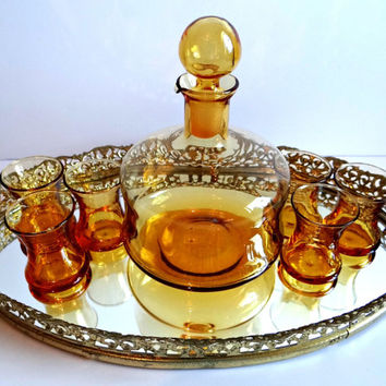 Vintage Amber Glass Decanter and Cordial Glasses Set With Pour Spout, Mid Century, Hand Blown Liquor Set, Bar Decor, Formal Dining, Wedding