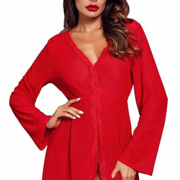 Red Flared Long Sleeve Babydoll with G String