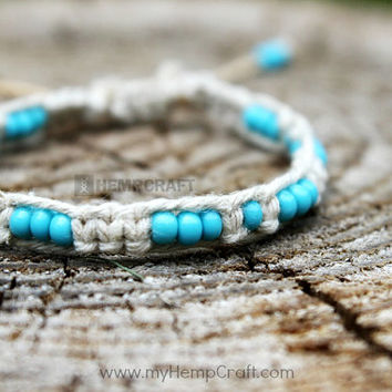 Macrame Hemp Bracelet with Beads, Turquoise Blue Adjustable Hemp Bracelet