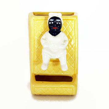 McCoy Match Holder, Vintage Wall Hanging Matchstick Holder, Black Americana Pottery Matchbox Holder, McCoy Mammy Pottery, Yellow Kitchen