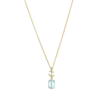 Gold tone necklace featuring a Nautical anchor with an aquamarine stone.