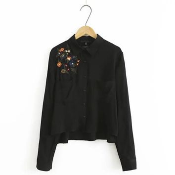 Floral Embroidery Black Shirts Women Blouses Turn-down Collar Long Sleeve Pockets Crop Top