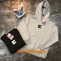 """""""The North Face"""" Unisex Simple Embroidery Box Logo Hoodie Couple Long Sleeve Hooded Sweater Sweatshirt Tops"""