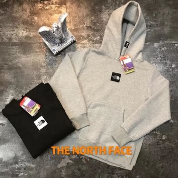 """The North Face"" Unisex Simple Embroidery Box Logo Hoodie Couple Long Sleeve Hooded Sweater Sweatshirt Tops"
