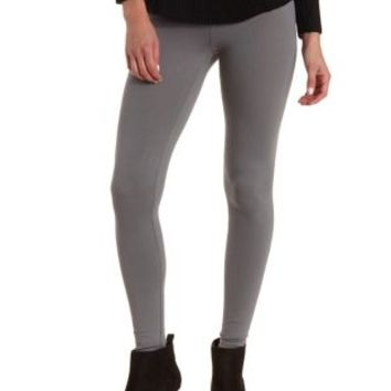 Gray Ankle Length Stretch Cotton Leggings by Charlotte Russe