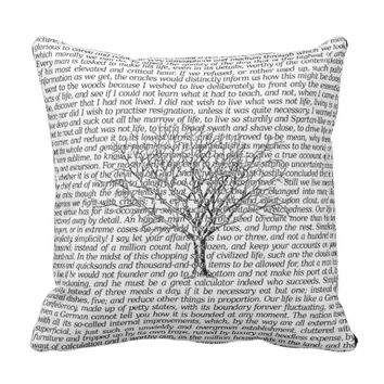 Walden Woods Literary Text Throw Pillow