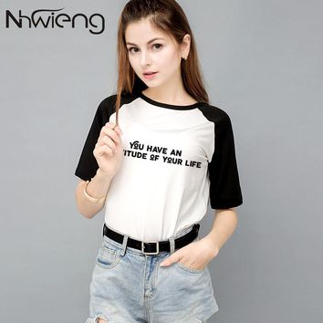 Summer women's patchwork t shirt tees printed hip pop letter black print short sleeve femme tee tops tumblr ladies rock clothing