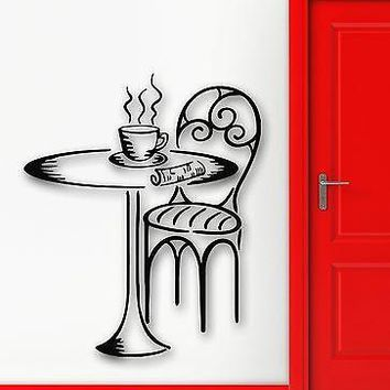 Wall Stickers Vinyl Decal Cafe Dinner Table Breakfast Newspaper Decor Unique Gift (ig1032)