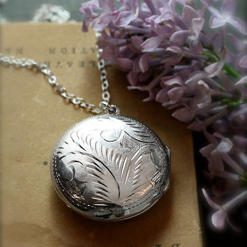 Round Locket Necklace, Sterling Silver Engraved Photo Keeping Large Pendant - Picture Perfect