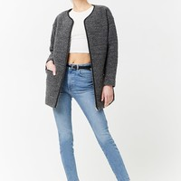 Faux Leather-Trimmed Boucle Coat