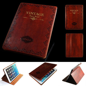 Vintage Magnetic Smart Cover Stand For Ipad