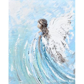 """SPECIAL RELEASE GICLEE PRINT """"Lifted by Grace"""" Abstract Angel Painting Modern Guardian Angel Canvas"""