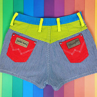 Vintage PETER MAX for Wrangler denim shorts, 1970s color block high booty waisted shorts, retro hot pants, colorful striped denim shorts