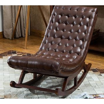 Patio Adult Rocking Leather Relax Chair