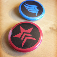 Mass Effect N7 Renegade Paragon Paragade Systems Alliance Navy Cerberus SR2 Spectre Buttons - SINGLE and DOUBLES