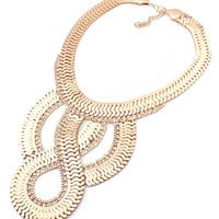Golden Twist Chain Necklace with Rhinestone