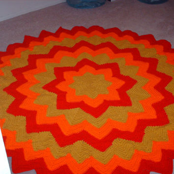 Aztec Sun Afghan, crocheted afghan, crochet, crocheted throw, blanket, throw