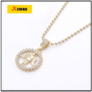 2016 New Hip Hop Iced Out Gold Baby Angel Cherub Micro Pendant Cuban Link Chain Necklace Rap Men Jewelry Design
