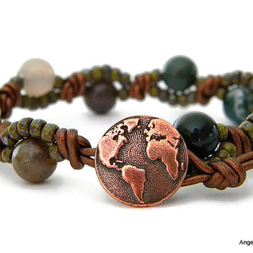 World Wrap Bracelet Entwined Leather Fancy Jasper Wrap Earth Bracelet
