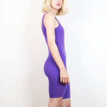 Vintage 1980s Bodysuit Purple Shorts Leotard One Piece Sporty Aerobics Romper 80s Bodycon Playsuit Work Out NewWave One Piece XS Extra Small