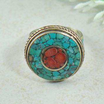 Nima Turquoise and Coral Mosaic Tibetan Silver Ring