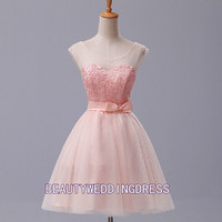 Bowknot Princess Hi-Lo bubble skirt Hand-Made Flower Pink Ball gown  Beautiful Party/Bridesmaid/Fashion/Evening/Prom/Sweetheart dress