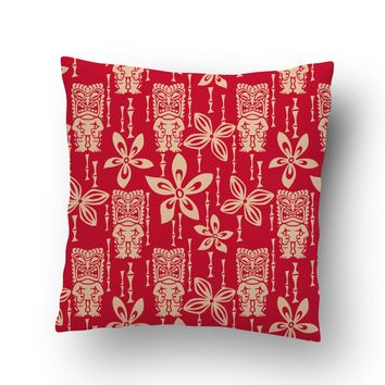Vintage Red Tiki's Hawaiian Throw Pillow Case from Surfer Bedding