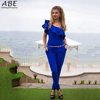 New Fashion Women Sexy Slim Off-Shoulder Jumpsuit Ruffle Bodycon Rompers