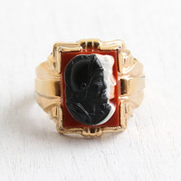 Vintage 14k Yellow RGP Double Cameo Ring - 1940s Art Deco Roman Warrior Soldier with Lady Size 11 3/4 Men's Statement Jewelry