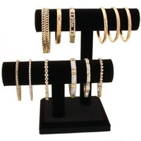 2 Tier Black Velvet T-Bar Bracelet Watch Jewelry Stand Display (1, Black Velvet)