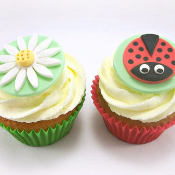 12 Ladybug Cupcake Fondant Toppers, Flower Fondant CakeTopper, Ladybug Birthday Party Cookie Toppers, Ladybug Baby Shower Edible Topper
