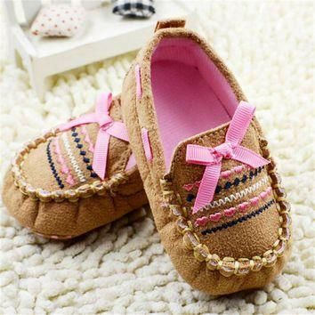 Newborn Shoes Brown Casual Infant Baby Shoes Soft Sole Toddler Cotton Crib Shoes Pre-w