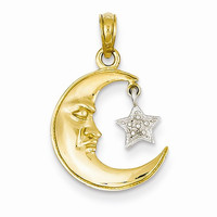 14k Two-Tone Gold Half Moon Star Pendant