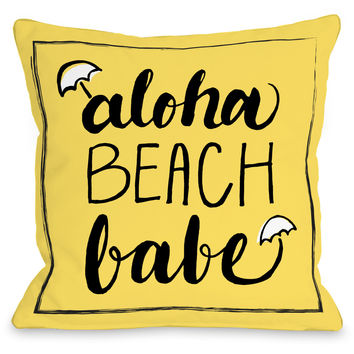"""Aloha Beach Babe"" Indoor Throw Pillow by OneBellaCasa, 16""x16"""