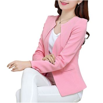 SYB 2016 Fashion Spring Women Slim Blazer feminino Coat Casual Jacket Long Sleeve One Button Suit Pink Ladies Blazers Work Wear