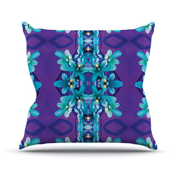 """Dawid Roc """"Blue Orchids"""" Teal Floral Throw Pillow"""