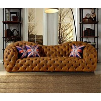 Modern Leather Sofa Couch Chesterfield Sofa Big 3 seat