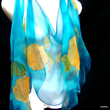 Silk Scarf Hand Painted Floral Turquoise Golden Yellow Roses Chiffon Shawl