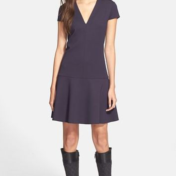 Women's Tory Burch Cap Sleeve V-Neck Fit & Flare Dress,