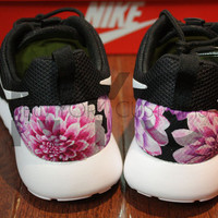 Free Shipping -- Nike Roshe Run Black White Dahlia Floral Print V2 Edition Custom Men & Womens