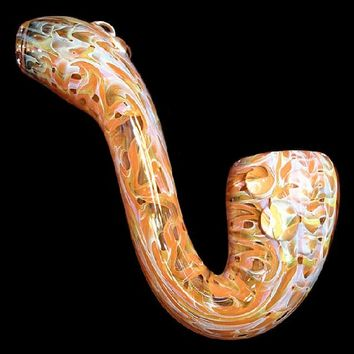 Color Changing 2X Layer Sherlock w Gold and Silver Fuming and Magnifiers Glass Pipe Smoking Bowl Blown by midknightglass.