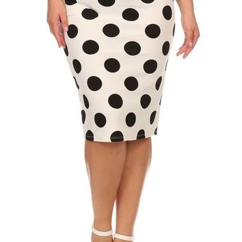 Polka Dot Mid Length Pencil Skirt With High Waist