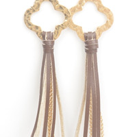Hammered Gold Quatrefoil Earrings with Leather Tassel