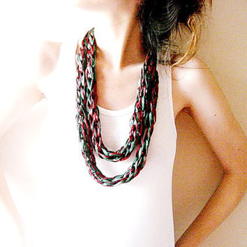 Two colored Finger knit loop scarf, green and burgundy infinity circle scarf,
