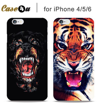 Scary Fantastic Wild Animal Hard Cases Cover For fundas iPhone 5 5S 6 6s Case Fashion Dog Tiger Shark Paint Pattern
